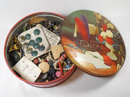 Large Old Tin Full Of Assorted Buttons Etc
