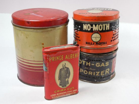 Group Lot Of 4 Vintage Tins Including Tobacco, Moth Gas