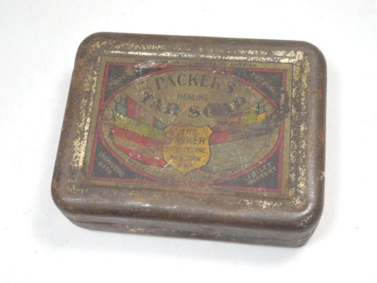 Antique Packers Healing Tar Soap Tin