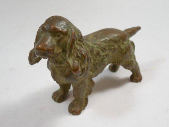 Antique Bronze Dog Statue Spaniel Dog