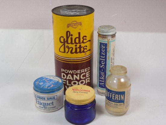 Group Lot Of 5 Antique And Vintage Bottles, Containers