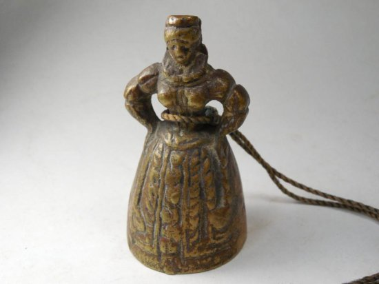 Early Antique Brass Bell Depicting A Lady In A Hoop Skirt