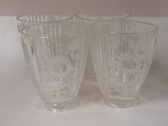 Group Of 4 Antique Glass Etched Lamp Shades