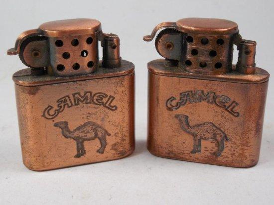 2 Vintage Camel Advertising Cigarette Lighters