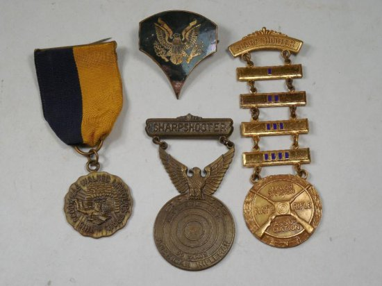 Group Lot Of 4 Military Or Shooting Medals