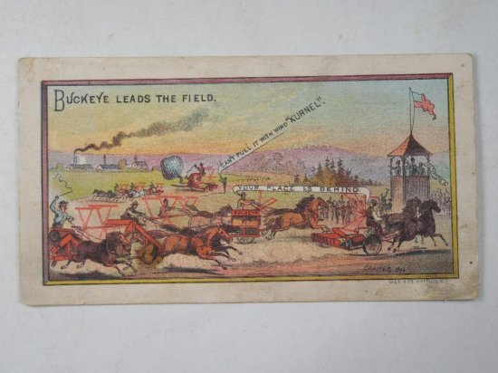 Rare Buckeye Leads The Field Agricultural Advertising Trade Card