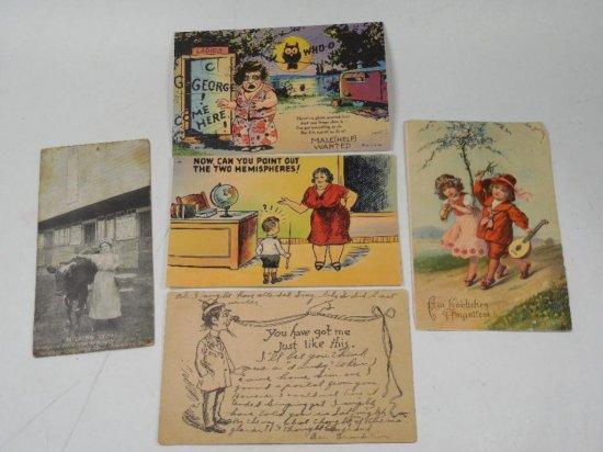Group Lot Of 5 Antique Postcards Etc