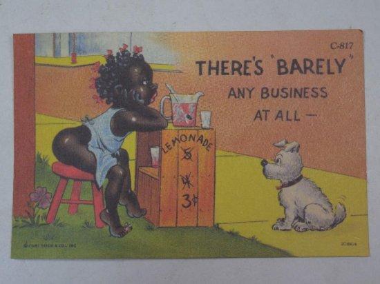 Barely Any Business Black Americana Postcard