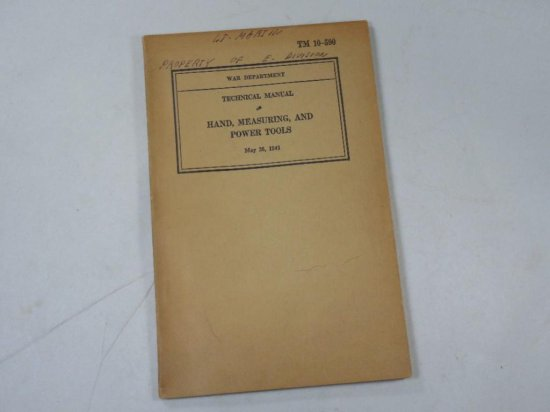 Wwii Military Army Manual - Hand, Measuring And Power Tool