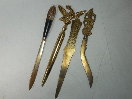 Group Lot Of 4 Vintage Or Antique Brass Letter Openers