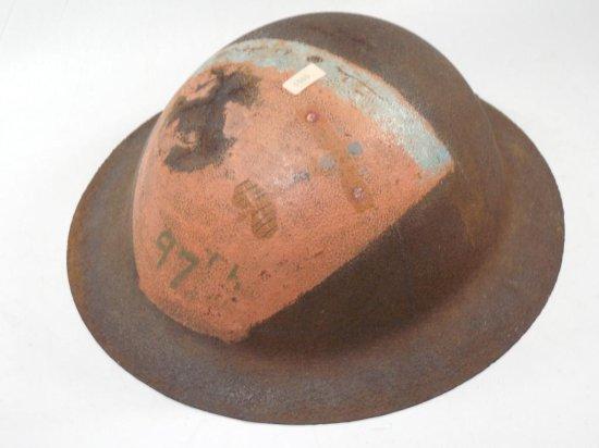 Wwi Military Helmet Dough Boy W/painted 97th Airplane Squadron