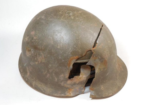 Antique Old Military Helmet W/damage From Bullet Or Artillery