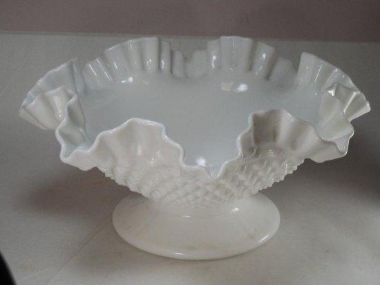 Vintage Fenton Ruffled Hobnail Glass Bowl