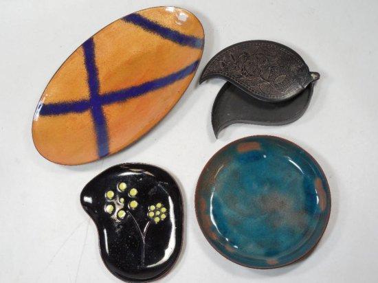 Group Lot Of 4 Vintage Wares Including Enamel On Copper