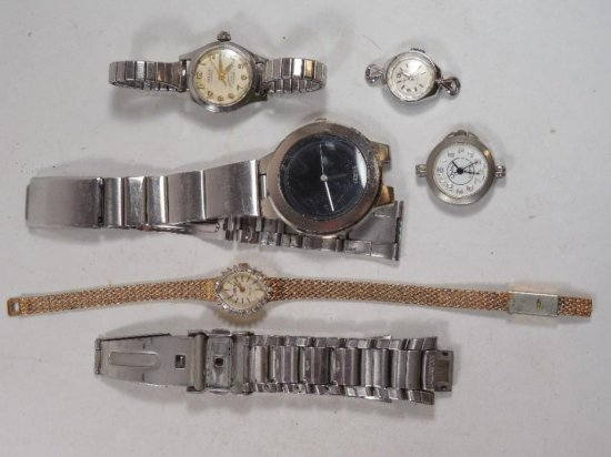 Group Lot Of 5 Vintage Watches And A Watch Band