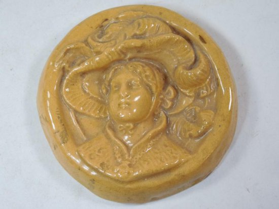 Highly Unusual Gibson Girl 1890s Lady Ceramic Tile