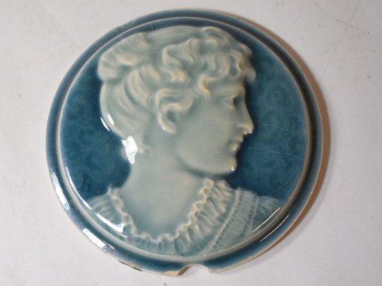 Rare Circular Ceramic Tile W/lady's Head