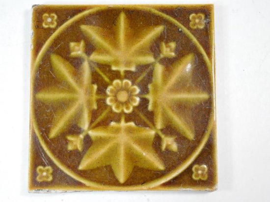 Nice C. 1900 Leaves And Flowers Ceramic Decorative Tile