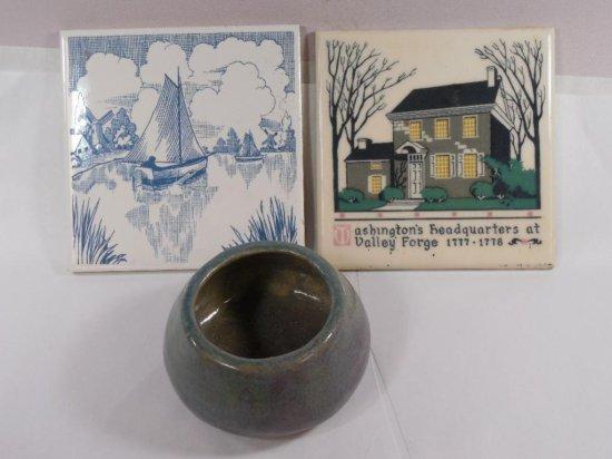 Two Vintage Tiles Inc. Washington's Headquarters Plus A Bowl