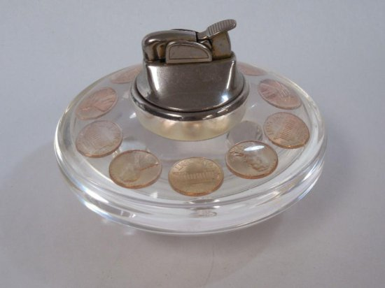 Retro 1950s Desk Lighter w/Lucite and 1959 Pennies