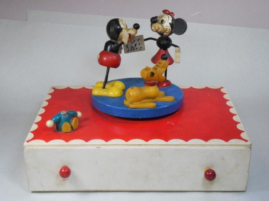Unusual Vintage Mickey Mouse Dancers Music Jewelry Box