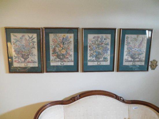 Group Lot Of 4 Framed Botanical Prints