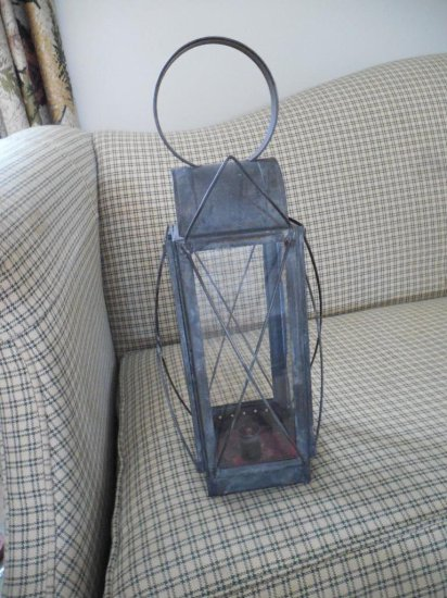 Antique Tin And Glass Lantern