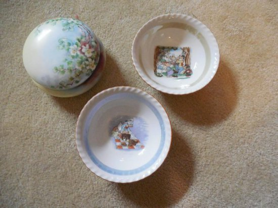 2 Antique Disney Bowls Plus Hand Painted Covered Dish