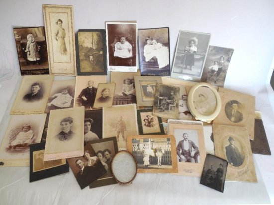 Large Collection Of Antique Photos Inc. Tintype, Cabinet Cards