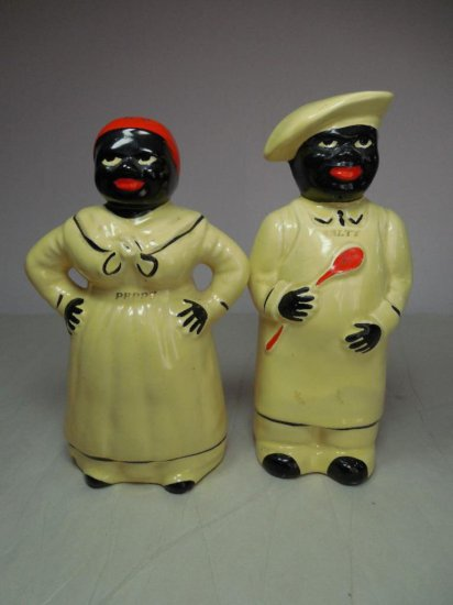 Vintage Ceramic Black Americana Salt & Pepper Shakers