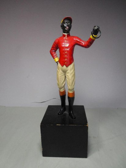 Old Cast Iron Lawn Jockey Figure On Stand
