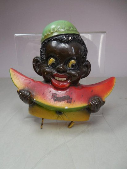 Vintage Black Americana Watermelon Boy Key Holder