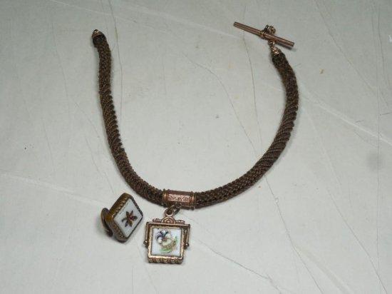 Antique Victorian Woven Hair Watch Chain Plus