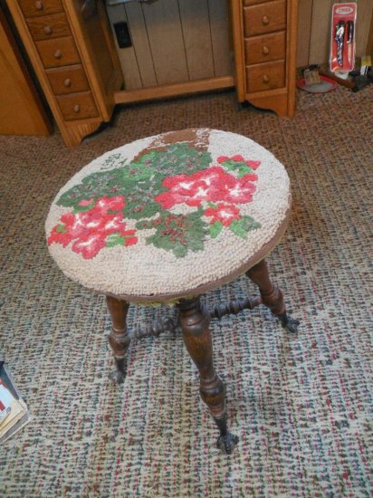 Antique Piano Stool W/glass Ball + Claw Feet