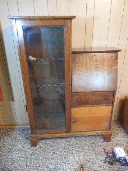 Antique Oak Secretary Desk Bookcase Gun Cabinet