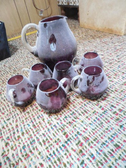 Unusual Blown Amethyst Glass Pitcher & Cups Set