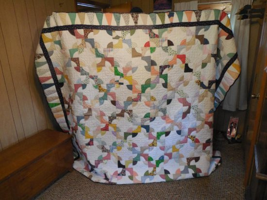 Very Nice Hand Stitched Quilt With Many Colors