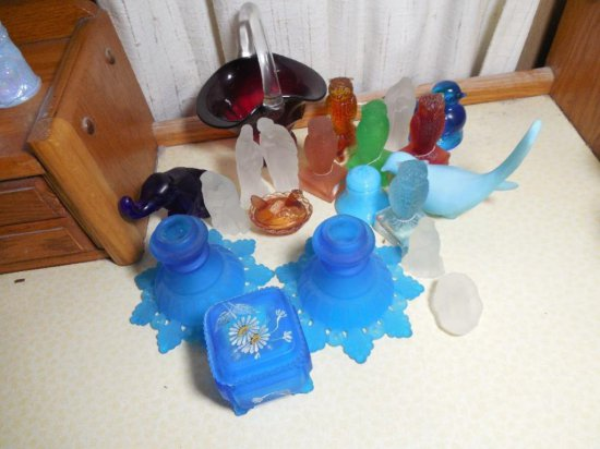 Excellent Group Lot Of Vintage Glass Items Inc. Owls