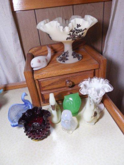 Group Lot Of Vintage Glass Inc. Fenton, Owl, Ruby Etc