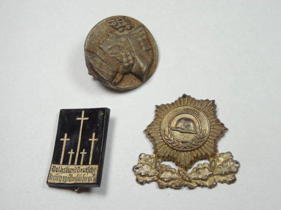 Group Lot Of 3 Nazi German Tinnies/pins