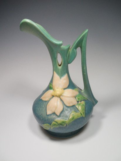 """Nice Roseville Pottery 17-10"""" Clematis Ewer"""