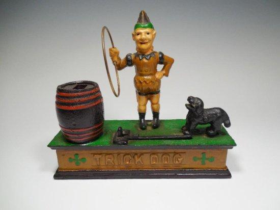 Nice vintage Cast Iron Jumping Dog Clown Bank