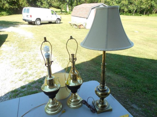 Group of Three Vintage Brass Lamps