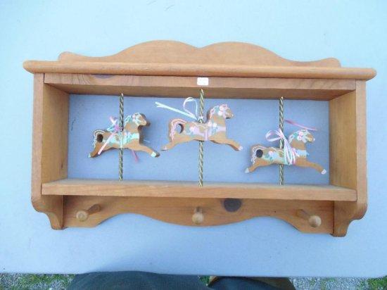 Cute Vintage Horses Shelf in Wood
