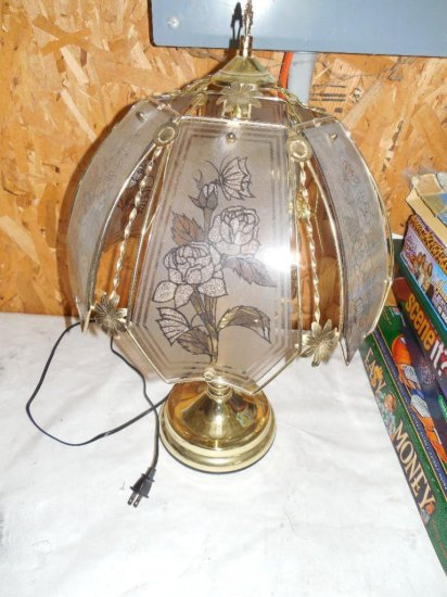 Vintage Brass Lamp with Floral Pattern