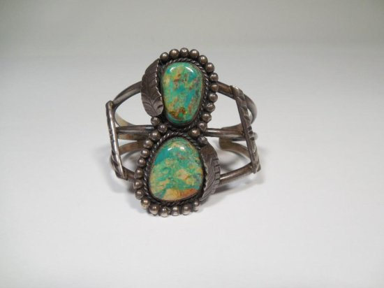 Big Turquoise Native American Sterling Silver Bracelet
