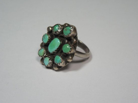 Early Native American Sterling Silver RIng - Turquoise