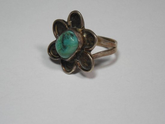Early Native American Turquoise Ring - Sterling