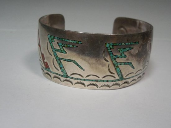 Early Large Native American Cuff Bracelet - Sterling Silver