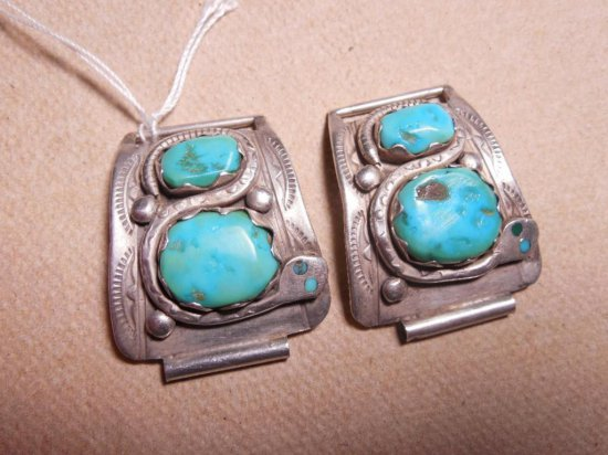 Rare Effie Zuni Snakes Turquoise Watch Tips Sterling